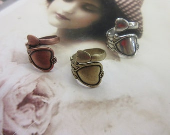 Vintage Heart Sterling Silver Ox Plated Brass Spoon Rings 625SOX x1