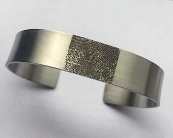 Fingerprint Bracelet, Actual Fingerprint Steel Bracelet, Fingerprint Jewelry, Custom Fingerprint, Memorial Bracelet, Baby's Fingerprints