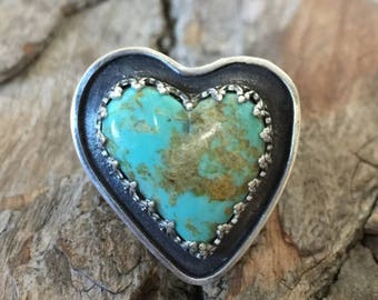 Sterling Silver - Kingman Turquoise Heart Ring