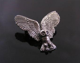 Owl Brooch, Owl in Flight Brooch Pin, Handmade Brooches, Tie Tack, Lapel Pin, Owl Jewelry, Australian Sellers, Handmade Jewelry, P209