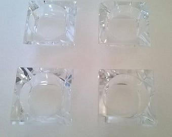 Set of 4 Vintage Cut Glass Individual Ashtrays