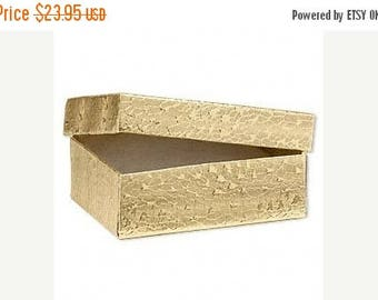 Spring Sale 10% off 100 Pack of 3.25X2.25X1 Inch Size Gold Foil Cotton Filled Jewelry Presentation Boxes