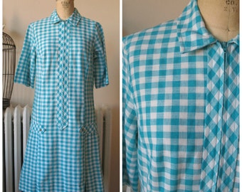 1960s Miss Endrea Dress | Vintage 60's Teal and White Gingham Dress Drop Waist MOD Dress with Tabs and Box Pleats Smokey Pearl Buttons M/L
