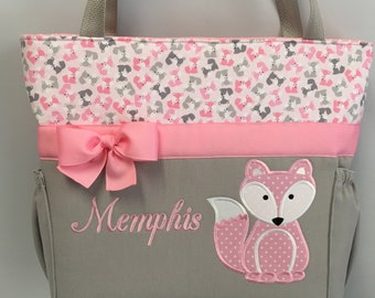 FOX Pink ... Urban Zoologie ...  FoXES .. DIAPER Bag .. Applique  ... Bottle Pockets ... Personalized Free
