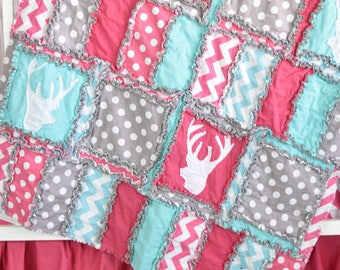 Woodland Baby Quilt- Gray/ Turquoise/ Pink Crib Bedding- Girl Deer Bedding- Hunting Nursery Mini Crib Size/ Crib Size Rag Quilt/ Toddler Bed