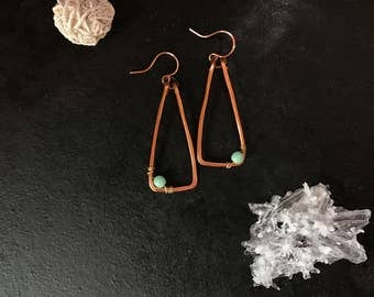 Hammered Copper Triangle Drop Earrings with turquoise Colored Bead accent