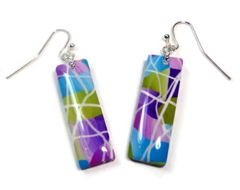 Purple Abstract Dangle  Earrings- polymer clay jewelry- Drop earrings- Polymer Clay  Earrings- Ready to Ship- Gifts for Her
