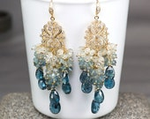 Moss Aquamarine Teal Blue Kyanite chandelier earrings, CZ pave Gold Vermeil hooks ... SOYALA Earrings
