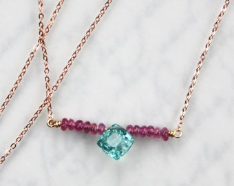 Paraiba Tourmaline Necklace, Electric Blue Tourmaline and Ruby Necklace - 14K Rose Gold