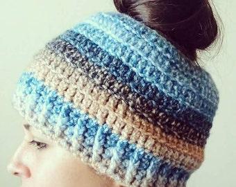 Messy bun hat,crochet