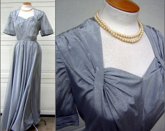 "Vintage 30s 40s Dress Long Formal Gown - Stunning Silver Spruce / Ice Blue / Silver HUGE Sweep Size XL - 34"" Waist"