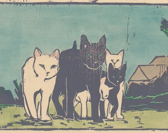 alley cats- original print / block print monotype