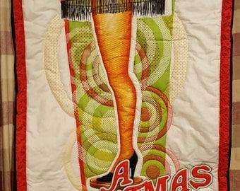 a christmas story leg lamp holiday movie seasonal handmade quilted wall hanging