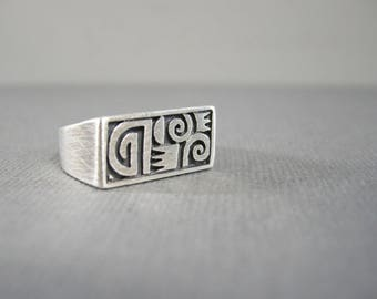 vintage sterling silver Boma ring, size 7.5, unusual slanting ring top, oxidized, raised designs, unisex, man's ring or woman's ring