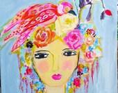 Lady, bird, floral crown, roses, art,  bohemian