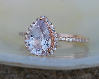 Engagement Ring Peach champagne Sapphire Engagement Ring 14k Rose Gold 2.3ct, Pear Peach. Sapphire Ring. Engagement ring