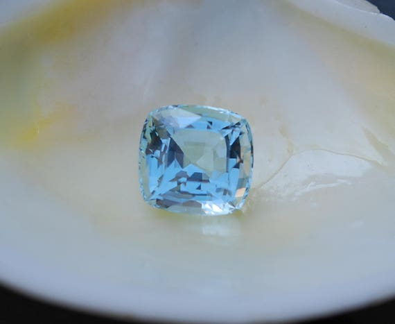 12ct Loose aquamarine for engagement ring Cushion Aquamarine Natural Aquamarine Blue green aquamarine loose gemstone by Eidelprecious