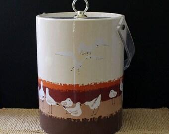Seagulls. Vintage 1970s Oleg Cassini ice bucket.