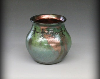 Raku Pot with United People in Metallic and Iridescent Colors
