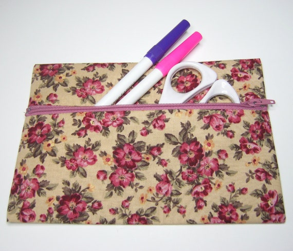 Vintage style rose fabric pencil case, make-up or cosmetics bag.  Fully lined.