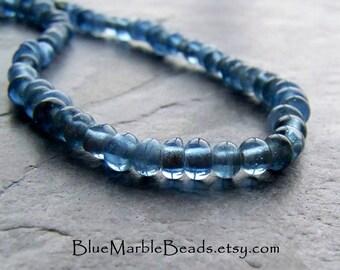 Hand Made Glass Beads, Hand Spun Glass, Blue Glass Beads, Small Glass Beads, Light Blue, Boho Bead, Full Strand, 100 Plus Beads Per Strand