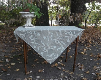 Sage Green Lace Tablecloth Vintage Lace Overlay 35x38 Lace Topper Wedding Decorations Table Decor Prairie Cottage Decor French Country