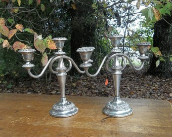 Pair Silver Plate Candelabras Silver Candle Holders Wedding Decor Table Decor 3 Candle Candelabra French Country  Set of 2