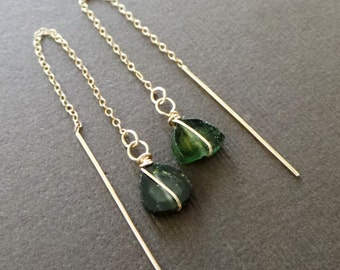 Watermeilon Tourmaline Gold Threader Earrings Long Chain Dangle Earrings