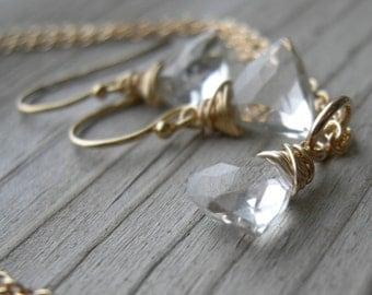 Petite Rock Crystal Quartz Trillion Gold Necklace Earrings Set Jewelry Set April Birthstone