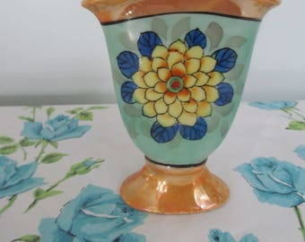 Vintage Small Lusterware Vase from Japan - Hand Painted - Petite Paris Apartment - Shabby Cottage Chic