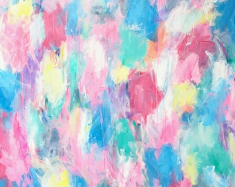 Happy Heart Original Art Acrylic Painting Abstract Style, Painted Canvas, Interiors, Stying, Wall Decor 100 x 100 x 3.5cm, Mother's Day gift