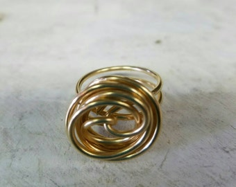 Gold ring handcrafted with brass wire