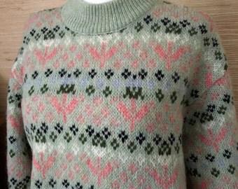 Vintage United Colors of Benetton Wool Fair Isle Sweater / 1980s 1990s