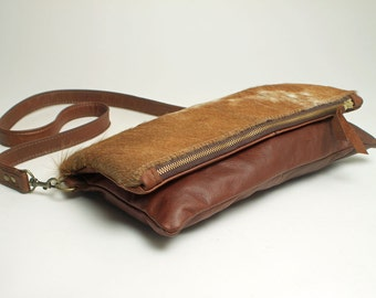 Fold Over Hair On Hide Purse with Tobacco Leather Shoulder Bag