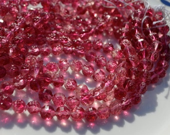 Raspberry Pink 7mm Rose Round Czech Glass Beads  25