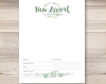 Watercolor Wreath Mint Sage Green Digital Baby Book Pages