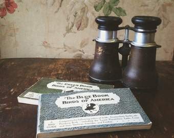 Vintage French Tubeuf Binoculars & 1931 Bird Watching Booklets