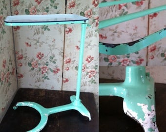 Vintage Cast Iron Medical Mayo Stand w/ Porcelain Enamel Tray - Mint Green