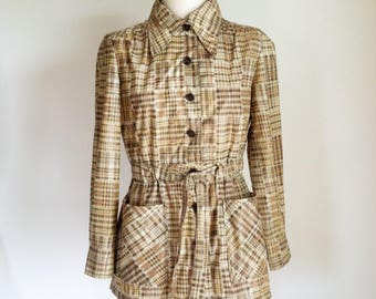 Vintage Rain Jacket - 1970s Tan Plaid Belted Raincoat