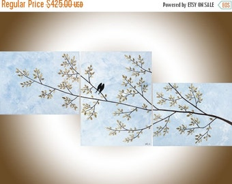 """Art painting extra large love birds on tree branch set of 3 painting wall art wall hangings blue grey white """"Perfect Day"""" by qiqigallery"""