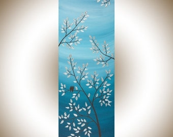 "Contemporary wall art love  Birds Art Acrylic painting wall art wall decor Wall Hangings blue silver ""Serenity"" by qiqigallery"