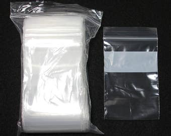 Resealable Zip Close Poly Bags 2x3 inch White Block Wholesale Lot