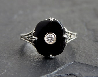 Onyx and CZ Ring: Sterling silver filigree, size 6.5, 12x10mm inset cushion cabochon, Art Deco style reproduction, floral motif, 3mm CZ