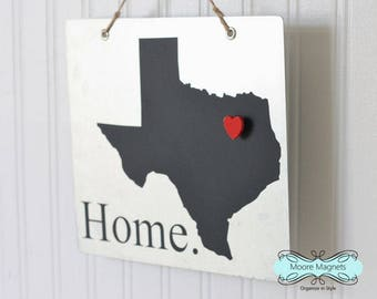 Texas State Silhouette Home Sign Magnet board with Chalkboard State and Red Heart Magnet