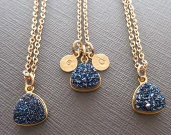 Druzy Necklace - Blue Druzy Gold Initial - Initial Druzy Blue-Dark Blue Wedding Bridesmaid Gift Sparkly Stone Blue-Triangle Drusy Blue-G3
