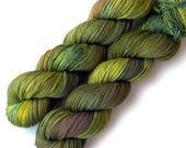 Hand Dyed Yarn Baby Camel Superfine Merino Sock Yarn, Green Vineyard