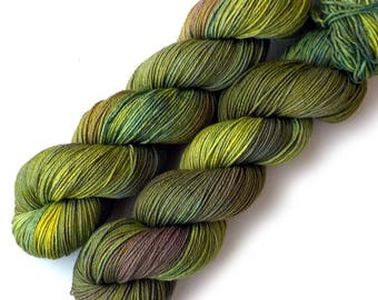 Hand Dyed Yarn Baby Camel Superfine Merino Sock Yarn, Green Vineyard