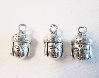 Buddha Charms, 14x8mm, Buddha Head Charms, Antique Silver Charms, 3D Metal Charms, Yoga Charms, Boho Charms, QTY 10 Charms - bm174