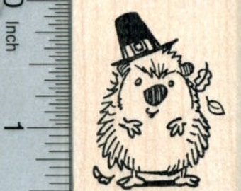 Thanksgiving Hedgehog Rubber Stamp E31105 Wood Mounted