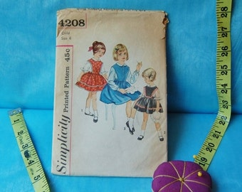 50% off Holiday Sale Vintage Simplicity 4208 Dress Pinafore and Peter Pan Collared Shirt 1950's Size 6